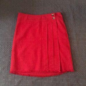 Isaac Mizrahi Red Fringe Skirt Size 16.